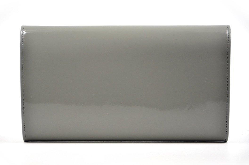 bf0e24378de15 TOREBKA kopertówka wizytowa lakier ciemna szara