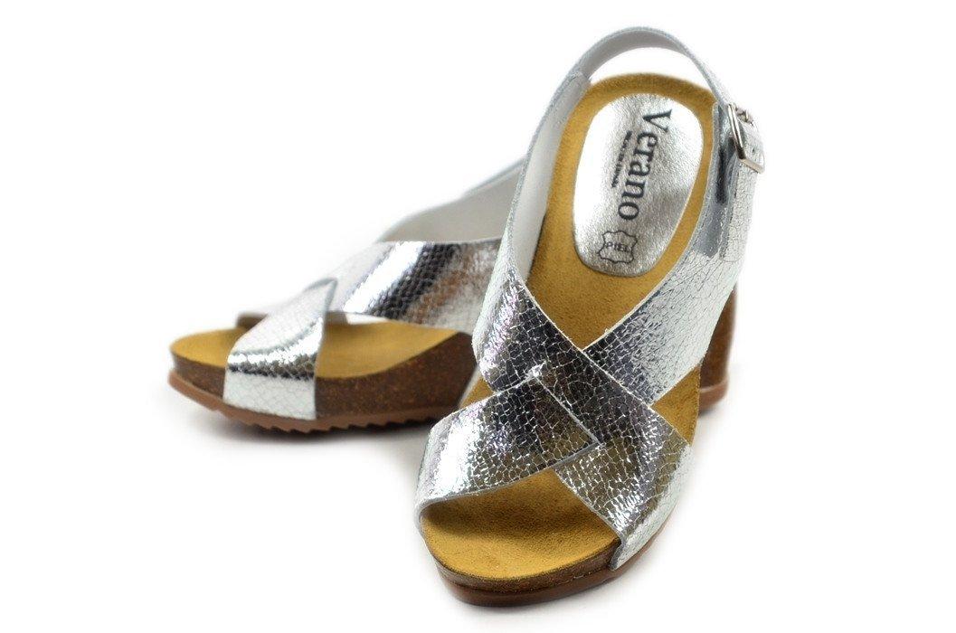 bb827800d22d1 Sandały 35 skóra VERANO 2902 srebrne koturna