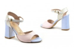 Sandałki 37 słupek OLEKSY 2692 skóra różowe niebieskie perłowe