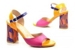 Sandałki 35 słupek OLEKSY 2692 skóra różowe niebieskie pomarańczowe