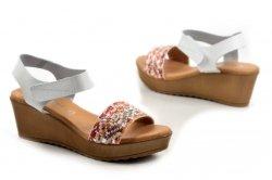 Sandały 38 koturn EVA FRUTOS 9449 białe hiszpańskie