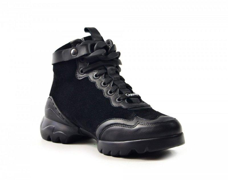 Półbuty 36 sneakersy Carinii B7607 skóra czarne