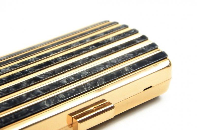 TOREBKA kopertówka wizytowa TOM&EVA czarna złota