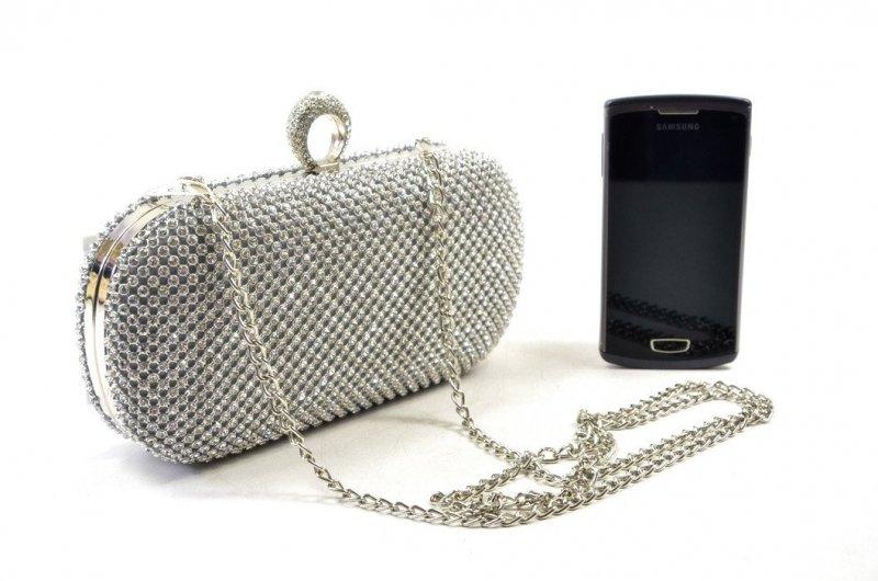 TOREBKA wizytowa kopertówka srebrna kryształki MICHELLE MOON