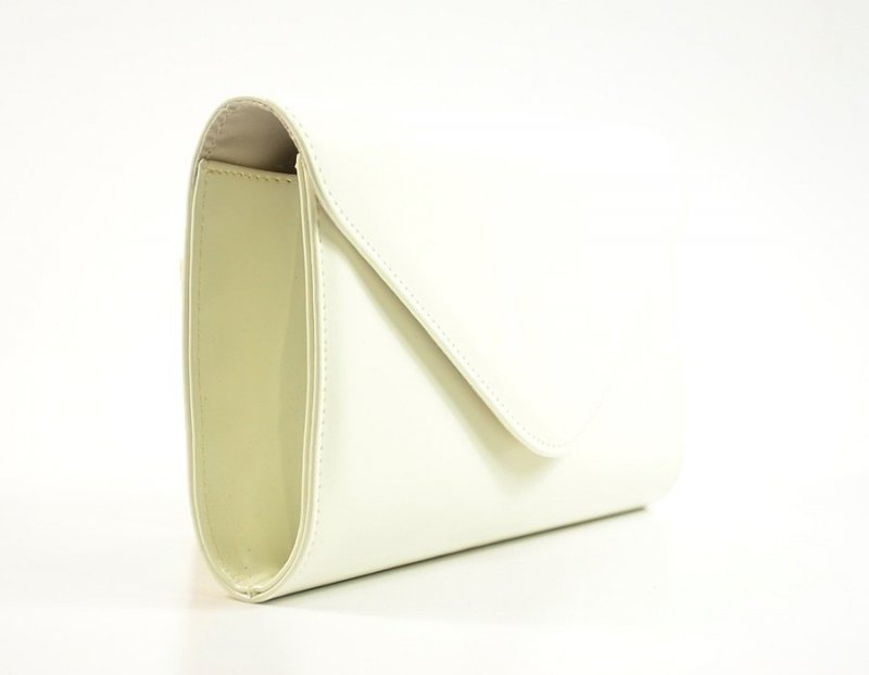 TOREBKA kopertówka biała kość słoniowa wizytowa lakierowana