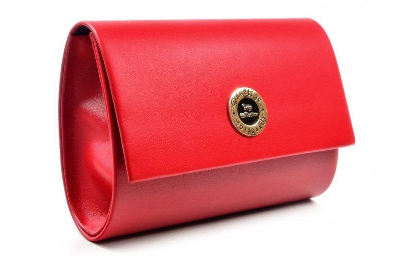 TOREBKA kopertówka PRESTIGE wizytowa czerwona matowa