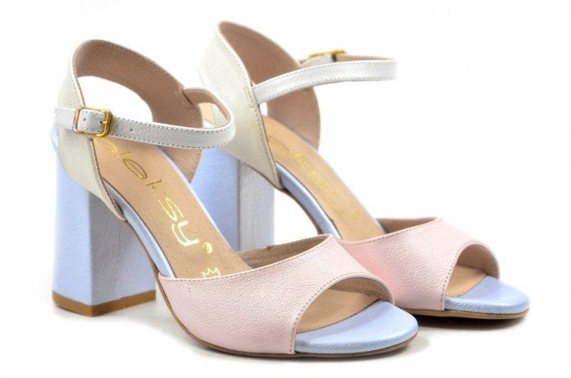 Sandałki 39 słupek OLEKSY 2692 skóra różowe niebieskie perłowe