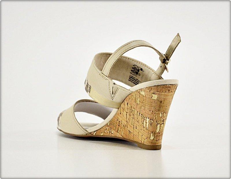 Sandały MARCO TOZZI 38 beżowe złote koturn 28327