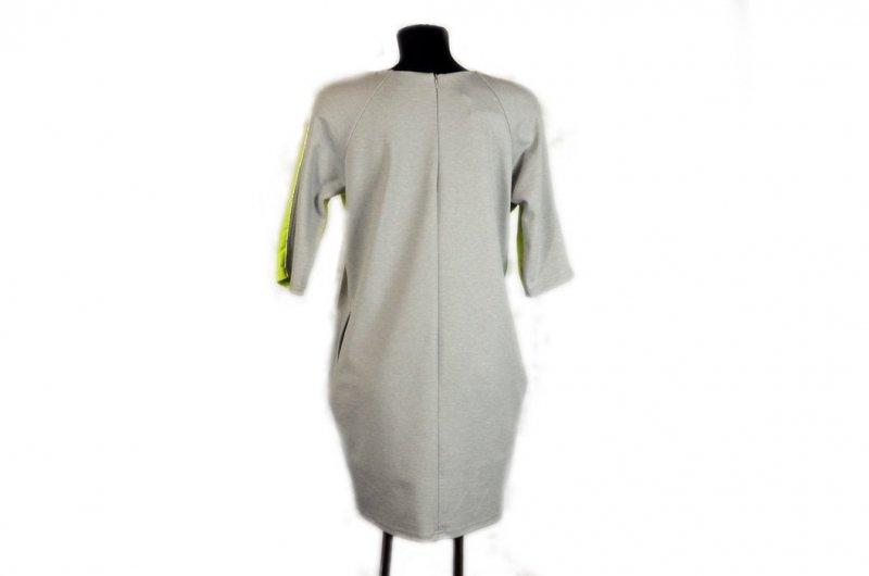Sukienka damska LUIZA 42 szara melanż limonka