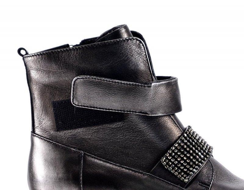 Buty Botki 40 B3604 CARINII skóra nikiel czarne srebrne