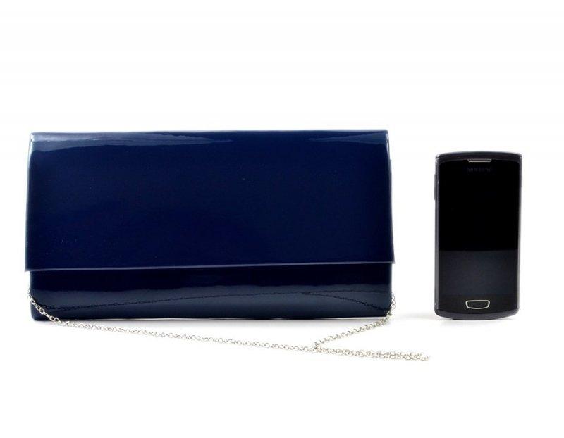TOREBKA kopertówka wizytowa granatowa niebieska lakier