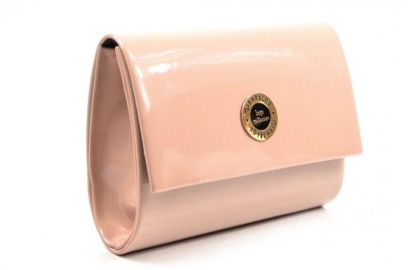 TOREBKA kopertówka PRESTIGE wizytowa pudrowa różowa lakier