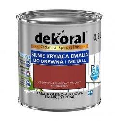 Dekoral Olejna 0,2L CZERWONY KARMINOWY MAT emakol alkidowa emalia strong