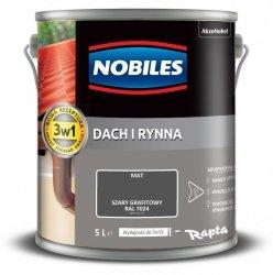 Nobiles Dach Rynna 5L SZARY GRAFITOWY RAL7024 farba na ocynk gruntoemalia