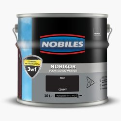Nobikor 10L CZARNY unikor podkład minia farba antykorozyjna Nobiles emalia czarna