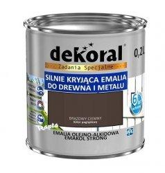Dekoral Olejna 0,2L BRĄZOWY CIEMNY emakol alkidowa emalia strong