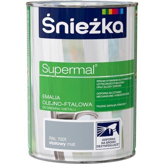 Śnieżka Emalia Olejna STALOWY MAT RAL7001 0,8L farba ftalowa Supermal