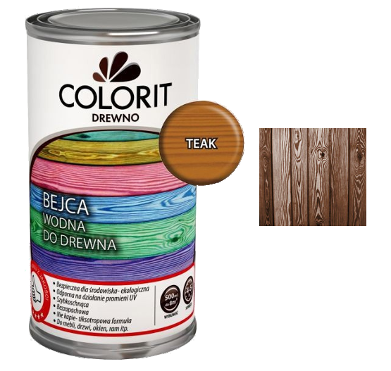 Colorit Bejca Wodna Do Drewna 0,5L TEAK TIK TEK 500ml do