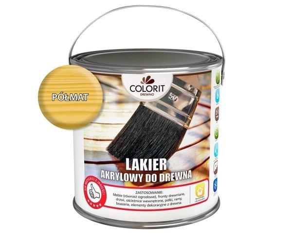 Colorit Lakier Akrylowy Drewna 5L PÓŁMAT BEZBARWNY z filtrami UV do wewnątrz i na zewnątrz nieżółknący