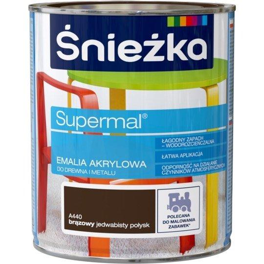 Śnieżka Emalia Akrylowa 0,8L BRĄZOWY A440 POŁYSK JEDWABISTY Farba Supermal