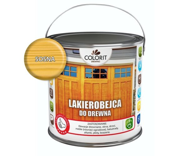 Colorit Lakierobejca Drewna 2,5L SOSNA szybkoschnąca satynowa farba do
