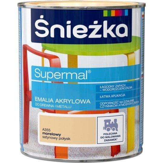 Śnieżka Emalia Akrylowa 0,8L MORELOWY A355 POŁYSK SATYNOWY Farba Supermal