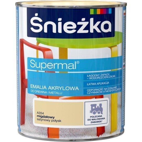 Śnieżka Emalia Akrylowa 0,8L MIGDAŁOWY A354 POŁYSK SATYNOWY Farba Supermal