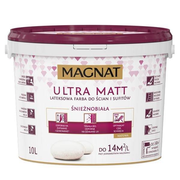 MAGNAT Ultra Matt 10L Farba Biała Lateksowa do ścian i sufitów
