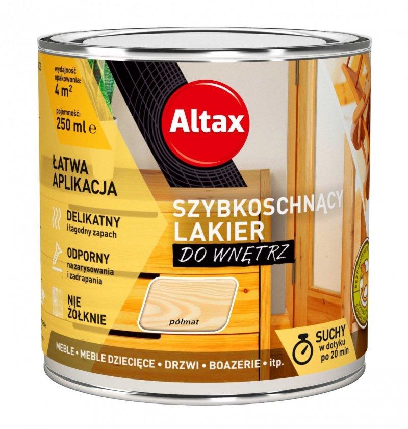 Altax lakier szybkoschnący drewna PÓŁMAT 0,25L bezbarwny do wnętrz