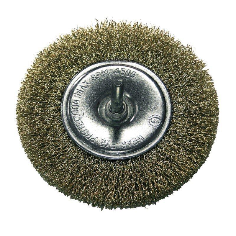 Szczotka druciana tarczowa śr. 75mm drut falowany mosiądzowany trzpień 32827 PROLINE