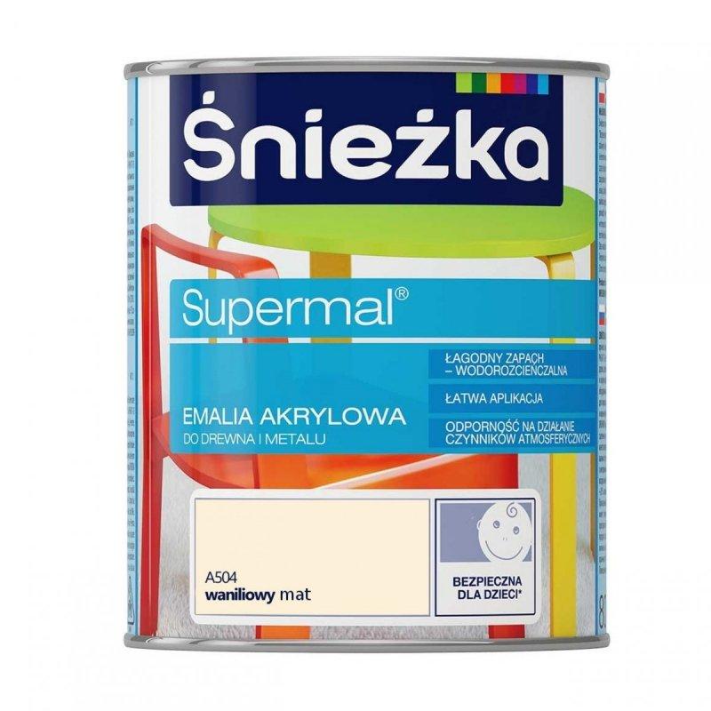 Śnieżka Supermal Emalia Akrylowa 0,8L WANILIOWY A504 MAT Farba