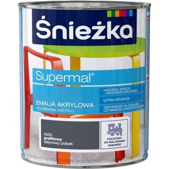 Śnieżka Emalia Akrylowa 0,8L GRAFITOWY A353 POŁYSK SATYNOWY Farba Supermal