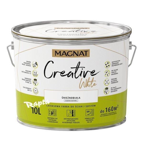 Magnat Creative White 10l Farba Biała Antyrefleksyjna Matowa Do ścian I Sufitów