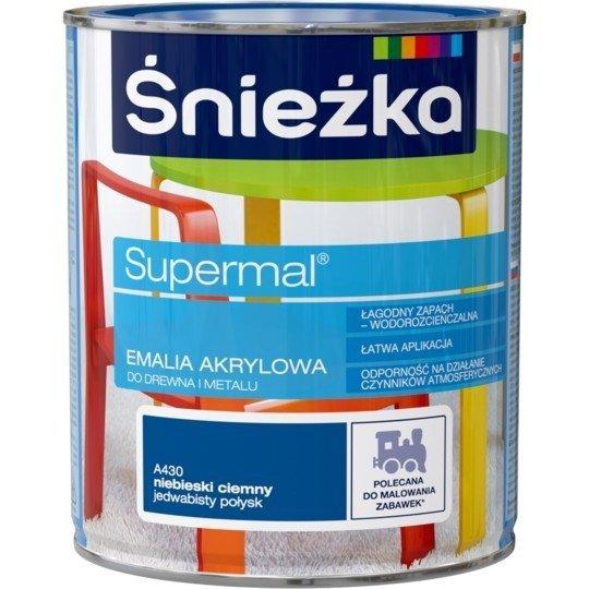 Śnieżka Emalia Akrylowa 0,8L NIEBIESKI CIEMNY A430 POŁYSK JEDWABISTY Farba Supermal