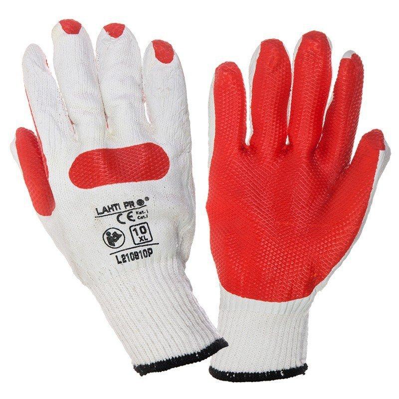 LAHTI PRO Rękawice ochronne lateks-owe XL czerwone rozm. 10 robocze