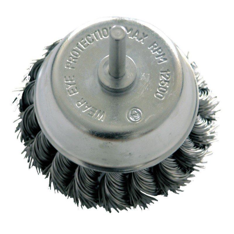 Szczotka druciana doczołowa śr. 75mm drut skręcany trzpień 32457 PROLINE