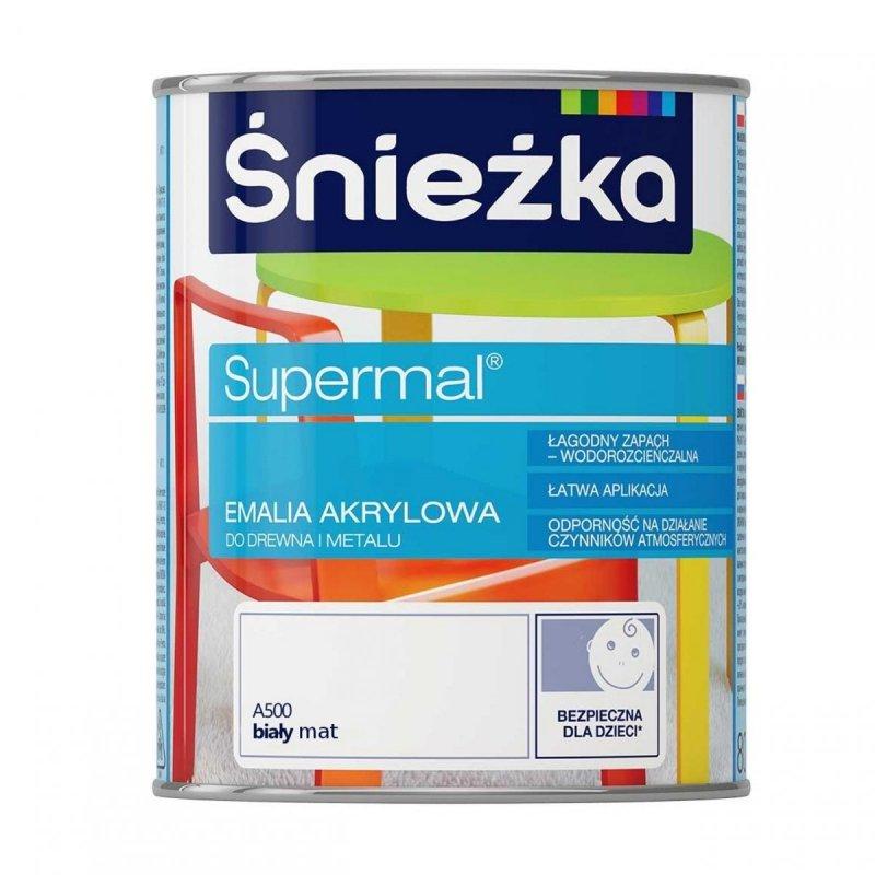Śnieżka Supermal Emalia Akrylowa 0,8L BIAŁY A500 MAT Biała Farba