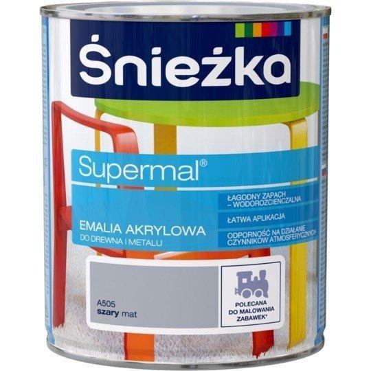 Śnieżka Emalia Akrylowa 0,8L SZARY A505 MAT Farba Supermal