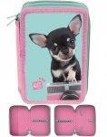 Piórnik Szkolny Piesek Chihuahua dla Dziewczynki Dwukomorowy [PTE-022BW]
