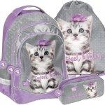 Plecak dla Dziewczynki z Kotkiem Szkolny Zestaw [PTC-181]