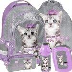 Plecak dla Dziewczynki z Kotkiem Fioletowy Szkolny Zestaw [PTC-181]