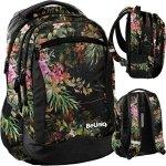 Kwiaty Plecak Młodzieżowy Dziewczęcy Czarny Szkolny [PPRS20-2808]