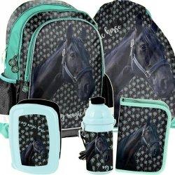 Modny Plecak do Szkoły dla Dziewczyny w Konie Komplet [PP19KN-081]