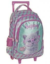 Plecak na Kółkach Szkolny Kot Kotek dla Uczennicy [PTF-1221]