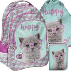 Plecak Szkolny dla Dziewczyny Komplet z Kotkiem Kot [PTF-181]