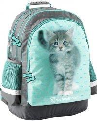 Plecak Szkolny z Kotkiem dla Dziewczynki Szary Zielony  [RLC-116]
