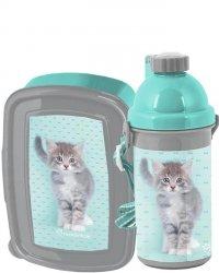 Śniadaniówka Bidon z Kotkiem Kotem dla Dziewczynki Zestaw [RLC-3022]