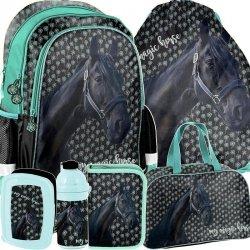 Plecak dla Dziewczyny Szkolny Czarny Koń Konik Zestaw [PP19KN-081]
