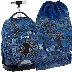 Niebieski Plecak na Kółkach Młodzieżowy Szkolny Zestaw Basketball [18-1231BB]