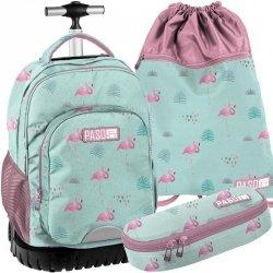 Duży Plecak na Kółkach Młodzieżowy Flamingi Zestaw [PPLF19-1231]
